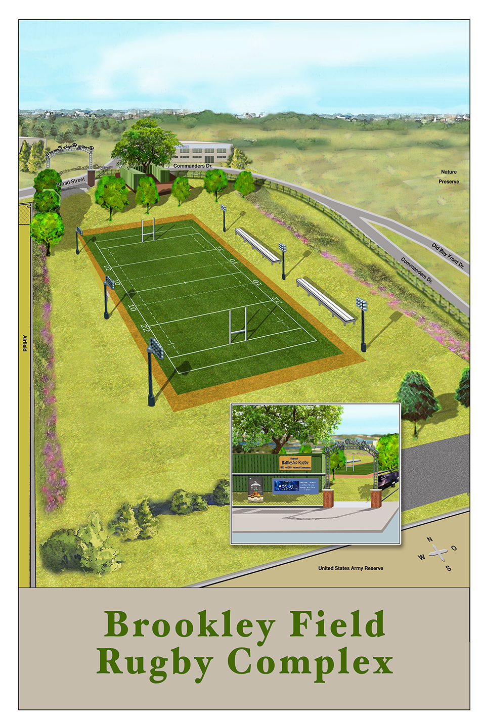 Rendition of the Brookley Field rugby complex